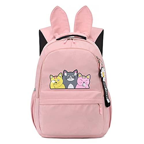 TYXL Cartella Scuola, Zaino per ragazze adolescenti Zaino per bambini Zaino Gap Cute Animal Print Canvas School Zaino Kids Cat Bag