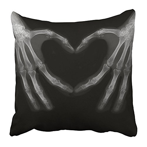 Emvency Throw Pillow Covers Print Black Xray Bones of Hands Making The Sign Love White Heart Science Body Human Medical Medicine 16 x 16 Inch Square Zipper Polyester Home Sofa Decorative Case