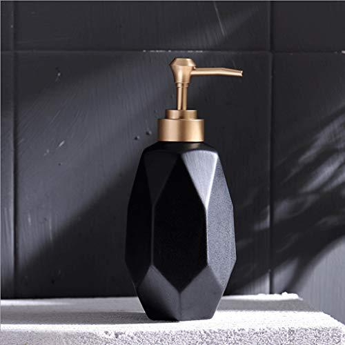 Dispensador de jabón Negro con Bomba Dorada Estilo nórdico Moderno Tarro de loción de 12 oz Botella de líquido de cerámica Artículos for el hogar for Cocina de baño (Color : Negro)