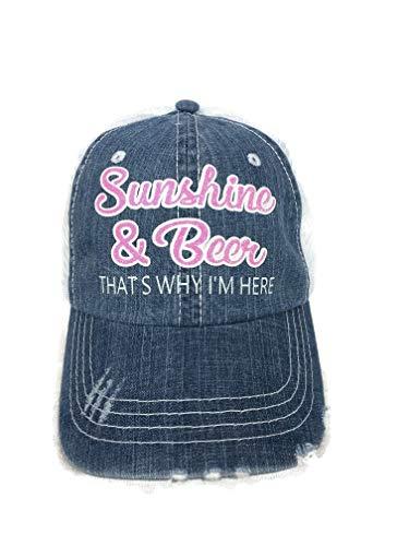Spirit Caps Neon Pink/White Glitter Sunshine & Beer That's Why I'm Here Distressed Denim/White Trucker Cap Hat
