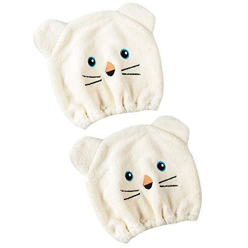 BETOY 2 Pack Microvezel Douche Badmuts Hoed Turban Snel Droog Haar Hoed Verpakt Handdoek Badmuts Fast Drogen Haar Turban Wrap voor Meisjes (Beige)