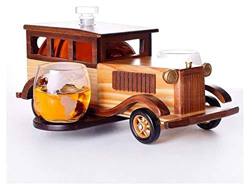 AMDHZ Conjunto de decantores de Whisky del Coche, con Gafas, Adornos Decorativos Modernos y Modernos, para Sala de Comedor de Sala de Estar. Decantador de Whisky