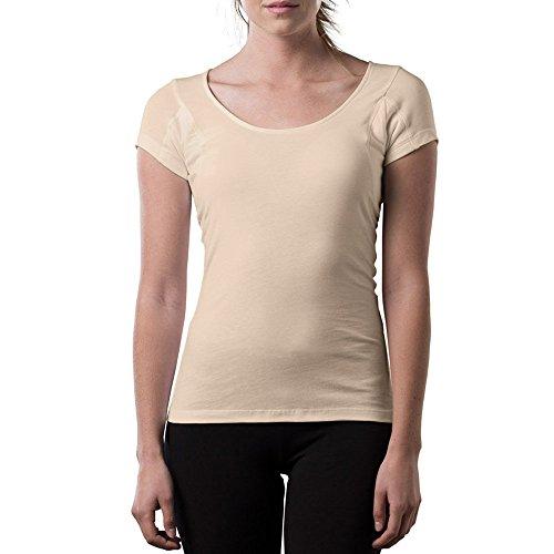 Sweatproof Undershirt for Women w/Underarm Sweat Pads (Original Fit,Scoop Neck) Beige