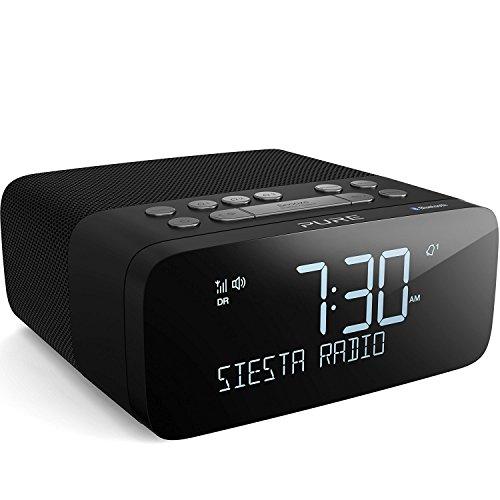 Pure Siesta Rise S Bluetooth Radiowecker (Digitalradio mit CrystalVue-Display, Bluetooth, USB, AUX, Weckfunktion, Sleep-Timer, DAB/DAB+ und UKW, 20 Senderspeicherplätze), Graphite