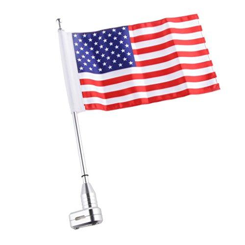 Sharplace Motorrad Flagge Fahnenmast mit USA-Flagge