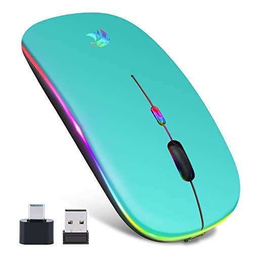 Ratón Bluetooth 5.1/3.0, inalámbrico, recargable, 2,4 G, ratón óptico portátil Bluetooth 3.0 de oficina con receptor USB y tipo C, 3 DPI ajustables para iPad, PC, Tablet, Windows, Android