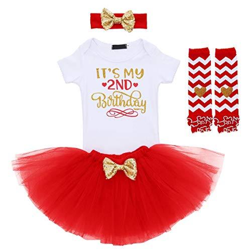 FYMNSI - Conjunto de manga corta para niñas, falda y tutú y pantalón para fiesta, 4 piezas Rojo segundo cumpleaños 2 Años