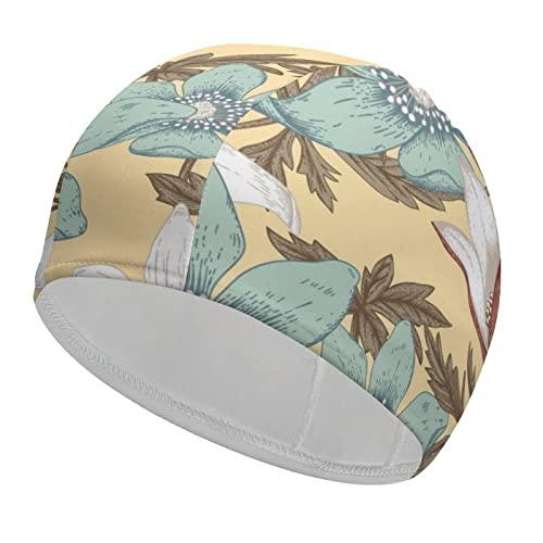 Gorro de natación para mujer, gorros de natación mejorados para mujer, gorros de natación para cualquier deporte acuático, flores blancas y azules