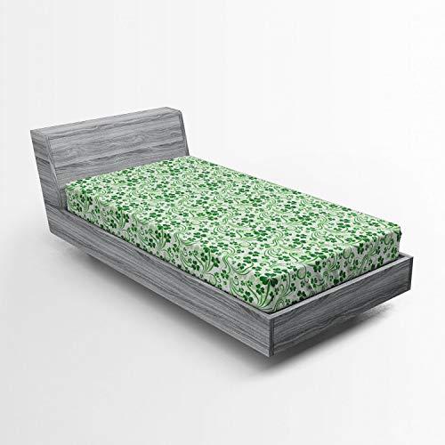 Lunarable Shamrock Fitted Sheet, Lucky Celtic Clovers Swirls Monochrome Irish Design St Patrick's Day, Soft Decorative Fabric Bedding All-Round Elastic Pocket, Twin Size, Green Emerald