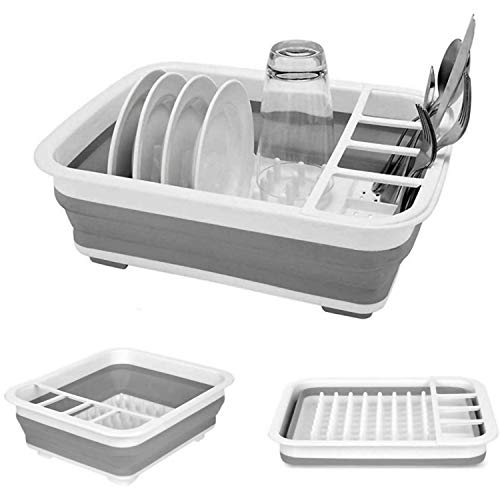 FSJD Collapsible Dish Rack Draining Board Portable Drying Storage Rack Drainer Organiser Camping Travel Space Saver