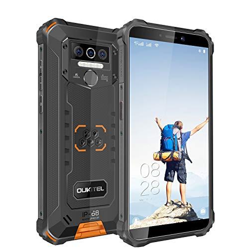OUKITELWP5(2020)アウトドアスマートフォンSIMフリースマホ本体Android10IP68防水防塵耐衝撃SIMフリースマートフォン本体4GBRAM+32GBROM8000mAh5.5インチ指紋認識顔認証携帯電話デュアルSIM(Nano)13MPSONYリアデュアルカメラLEDライト防災用品1年間保証付き(オレンジ)