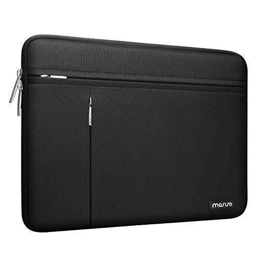 MOSISO Laptop Hülle Kompatibel mit MacBook Pro/Air 13 Zoll, 13-13,3 Zoll Notebook Computer, Wasserabweisend Polyester Tragetasche Schutztasche mit Horizontalen & Vertikalen Fronttasche, Schwarz