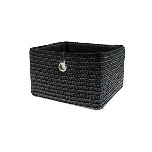 FRANDIS 181113 Paniers de Rangement Noir Matière : PP + térylène à l'intérieur, poignée en INOX Dim Produit : 24 x 23 x 16 cm