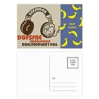 茶色のヘッドセットのロック・ミュージック・クレイジー バナナのポストカードセットサンクスカード郵送側20個