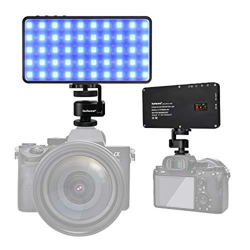 Juego de luz LED RGB Portátil Todo Color+Caja Suave, Mini panel de Iluminación de cámara Inteligente Vlogging, para Estudio de Fotografía, YouTube, INS (Recargable Rápida 4500 mAh, 12W)