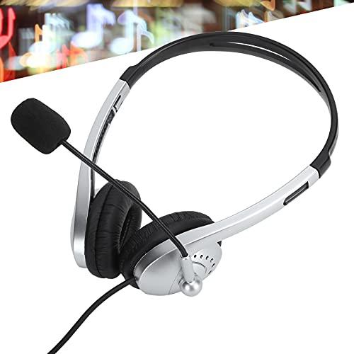 01 Auriculares con Cable de 3,5 mm, Diadema Ajustable Plug and Play Auriculares en la Oreja para Centro de Llamadas para conferencias telefónicas para presentaciones de seminarios Web para Voz