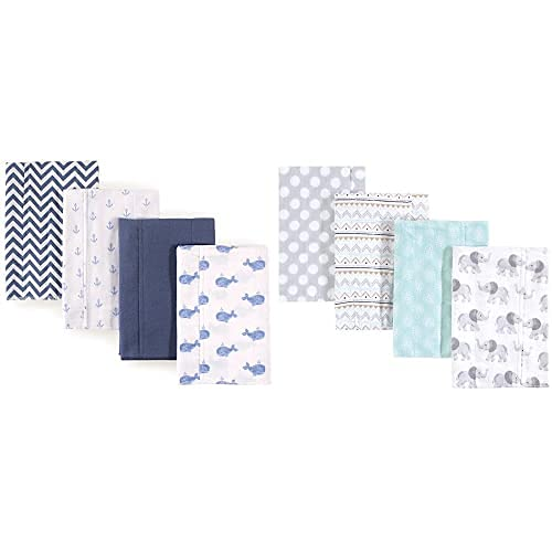 Hudson Baby Boy Cotton Flannel Burp Purchase 8-Pack Ele Whale Gray At the price Cloth