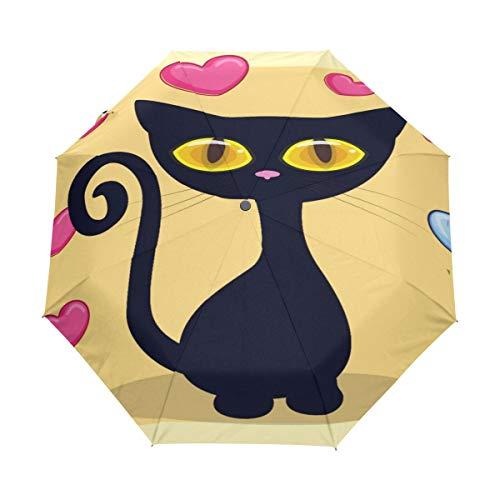 Gato Negro Gatito Corazón Paraguas Plegable Hombre Automático Abrir y Cerrar Antiviento Ligero Compacto Paraguas para Viajes Playa Mujeres Niños Niñas
