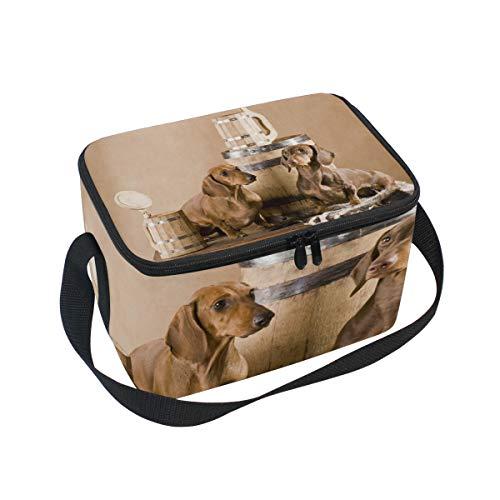 Lunchtasche Zwei Dackel mit Bier Kühler für Picknick Schultergurt Lunchbox
