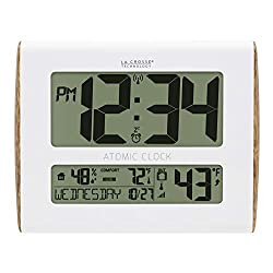 La Crosse Technology BBB86095 Digital Atomic Wood Sided Wall Clock with Temperature and Indoor Humidity, White