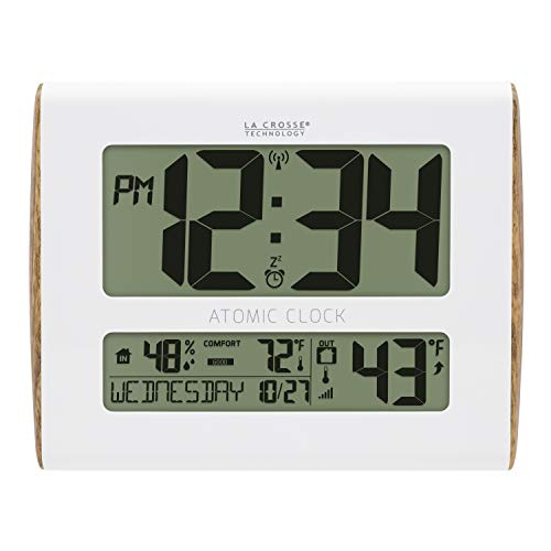 La Crosse Technology 513-1919-INT Digital Atomic Wood Sided Wall Clock with Temperature and Indoor Humidity, White