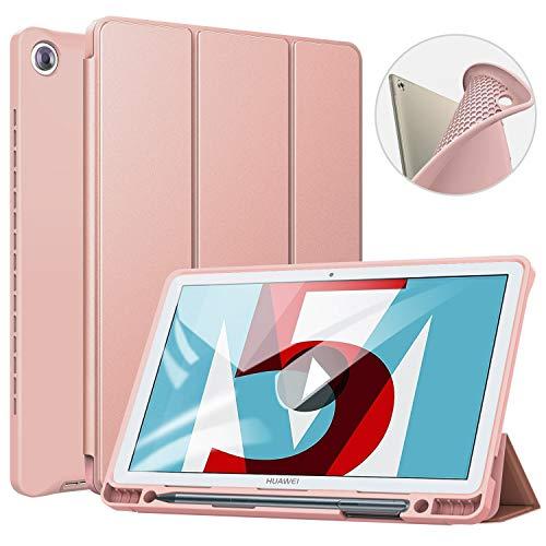 ZtotopHülle Hülle für Huawei MediaPad M5 10.8, Superdünne Smart Cover Schutzhülle mit Stifthalter, Automatischem Schlaf/Aufwach, Kompatibel für Huawei MediaPad M5 /M5 Pro 10.8 Zoll,Roségold