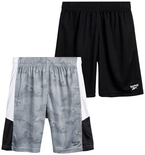 Reebok Boys? Basketball Shorts - Performance Athletic Shorts (2 Pack), Size Large, Black/Shark Multi