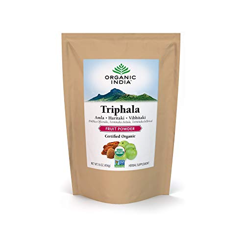 Organic India Triphala Herbal Powder - Immune Support, Digestion, Adaptogen, Colon Cleanse, Nutrient Dense, Vegan, Gluten-Free, Kosher, USDA Certified Organic, Non-GMO - 1 lb Bag