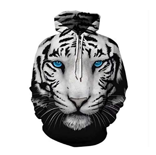 JlLianT Unisex 3D HD Sweater Hoodie Print Sweatshirts Coat Tops Pullover Zipper Cosplay Long Sleeve with Cap White Tiger