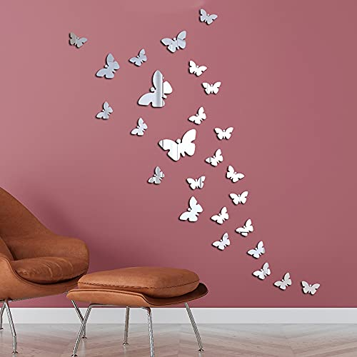 Adesivi Murali Farfalle 3D Specchio a Farfalla Adesivi Murali Tridimensionali Acrilico Rimovibile 25 Pezzi Fai dante Adesivi Murali Decorazione da Muro per Casa/Hotel/Salotto/Camera da Letto/Cucina