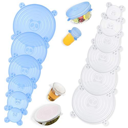 DOPGL 2020 Neues Design Dehnbare Silikondeckel 12 Stück, BPA frei Frischhaltedeckel, Platinqualität Stretch Lid Silikon Abdeckung Dauerhaft Erweiterbar & Wiederverwendbar - Für Schüsseln Dosen Becher