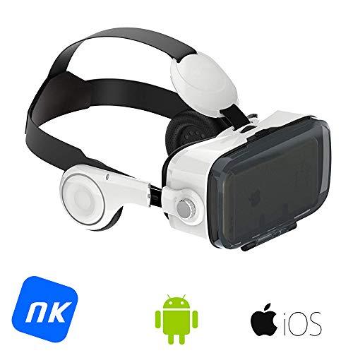NK GF3114 - Gafas con Visor Adaptador 3D Realidad Virtual VR - Smartphone, con Auriculares, Ángulo de visión 100°, Lente 42mm, Android & iOS