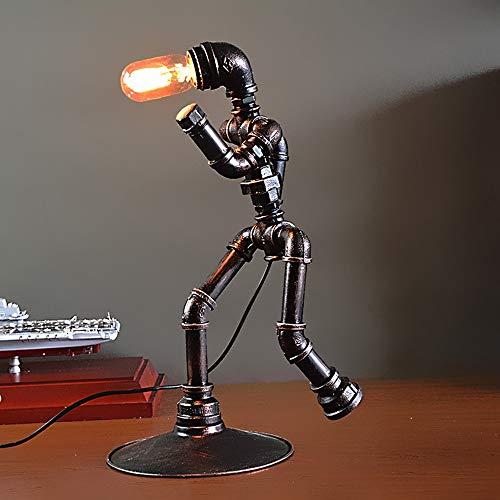 SWNN lámpara de mesa Lámpara De Mesa De Viento Industrial, Hierro Lámpara De Tubería De Agua, Lámpara De Mesa Pictograma DIY (30 * 30 * 50cm, La Boca De Rosca E27)