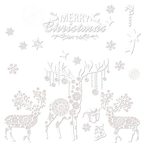 (2セット)クリスマスガラス静電ステッカーカラーキャビネット窓ステッカー装飾ショッピングモールクリスマス装飾ドレス用品 mu'mu'zahuopu (Color : スノーボール)