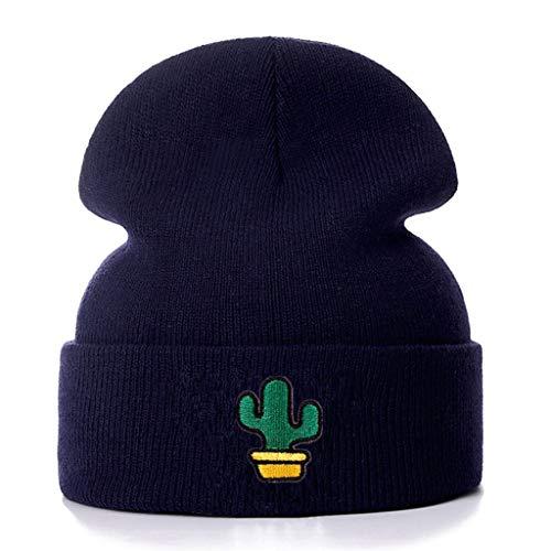 SHYPT Cactus Embroidery Cotton Casual Beanies für Männer Frauen Strick Wintermütze Einfarbig Hip-Hop Skullies Hut Unisex Cap (Color : Blue)