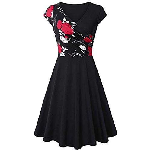 KIMODO Damen Kleid Sommer Kurzarm Elegant Kreuz Jahrgang Kleider Mode (Rot, XL)