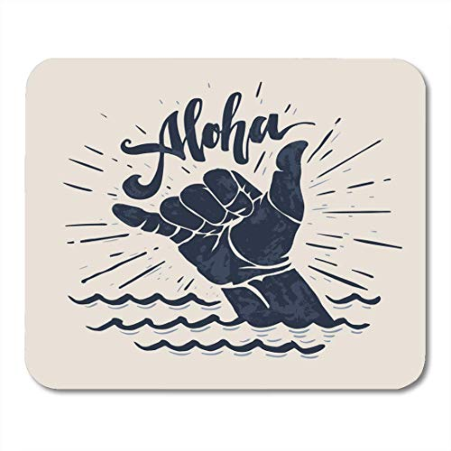 AOHOT Mauspads Surf Aloha Lettering Surfing Shaka Hand Sign Surfer Wave Board Graphic Mouse pad 9.5