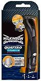 Wilkinson Sword Quattro Titanium Precision - Maquinilla de Afeitar Recargable con Cabezal Regulable de 4 Hojas de Titanio + 1 Cuchilla de Precisión , Afeitadora para Hombres
