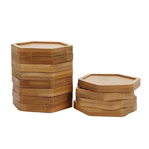 T4U 3 Inch Planter Pot Bamboo Saucer Hexagon Set of 12, Succulent Pot Holder Drainage Tray for Most Small Ceramic Succulent Planters Holding Drainage Water