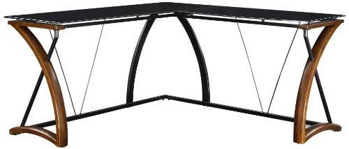 Whalen Furniture Newport Wood & Glass L-Shaped Office Computer Desk