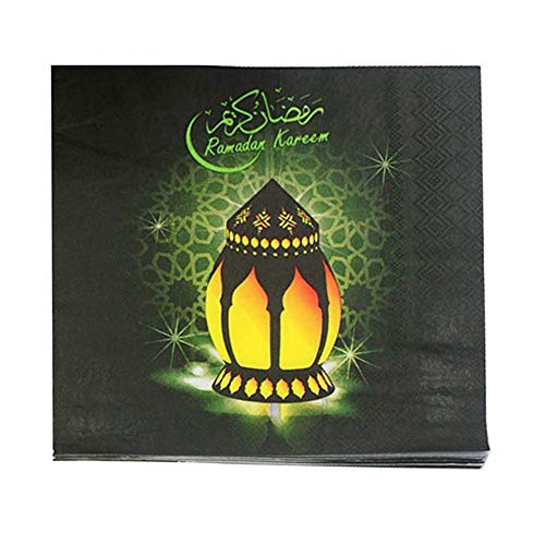 PoeticHouse 20 stücke Ramadan Servietten, Eid Mubarak Einweg Servietten Mondlaternen Gedruckt Kosmetiktücher Muslim Festival Party Supplies Dekoration, 33x33 cm Functional