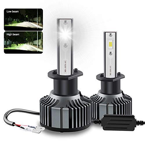 2 PCS H1 Kit de Conversión de Bombilla LED para Faros Delanteros 6500K CSP 3570 Chip 56W Sistema EMC Super Brillante para Faros Delanteros de Haz Alto/Bajo HID o Faros Antiniebla Halógenos