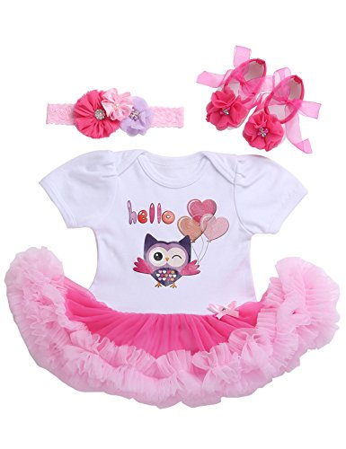 Pompomkid Newborn Baby Girls' Tulle Princess Wedding Dress For Toddler and Baby Girl Clothes Hello Owl 0-3Months/21-23''/11-13lb