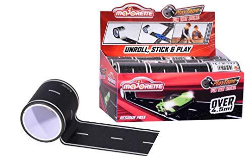 Majorette 212058195 Playtape, Road Tape, Straßenfolie, Klebeband für Kinder, Spielzeugautos, Aufkleber Rennstrecke, Motiv, Selbstklebende Straße, schwarz/weiß