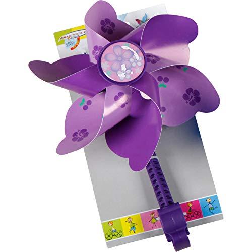 Fahrradwindmühle für Kinder - passend auch für Roller, Dreirad, Laufrad - Fahrrad Windrad Windmühle Deko Zubehör lila