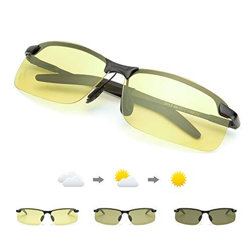 TJUTR Fotocromaticas Gafas de Sol para Conducción Nocturna Polarizadas Hombre, Marco de Metal Anti Reflectante Gafas Nocturna - 100% Protección UVA UVB (Negro/Amarillo Photochromic)