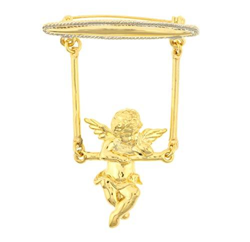 Behave® dames engel pin broche van metaal - goudkleur - 6 cm grootte