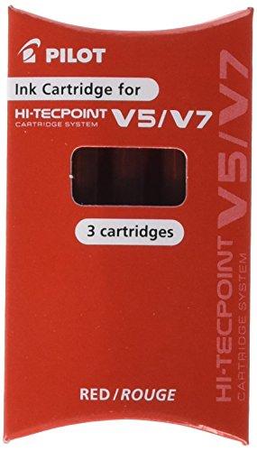 Pilot BXS-IC-R-S3 – Pack de 3 cartuchos de tinta para Hi-Tecpoint V5/V7, color rojo