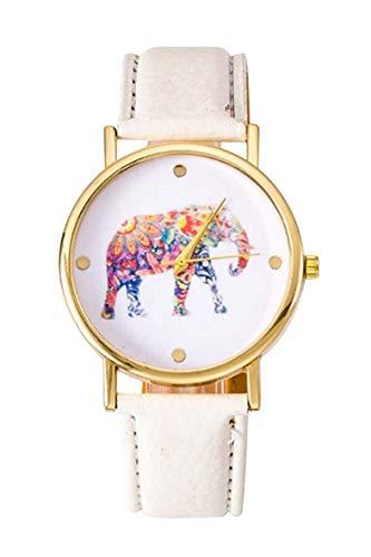Reloj de pulsera - SODIAL(R)Reloj de pulsera de patron de elefante para estudientes y mujeres de color blanco