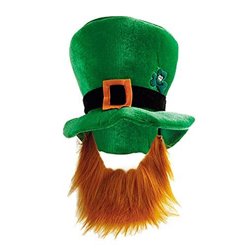 1 Pieza Sombrero de Copa Verde Sombrero de Copa Verde con Bigote Sombrero de Disfraz de Duende Decoracin de Desfile de Hombres/Mujeres/Adultos/nios